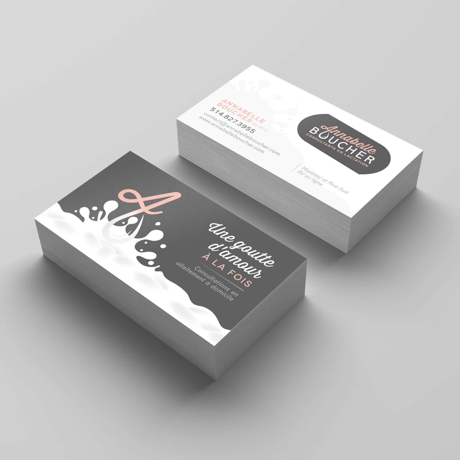 "Business cards with the letter A and an illustration of a puddle of milk with the text ""Une goutte d'amour a la fois"""
