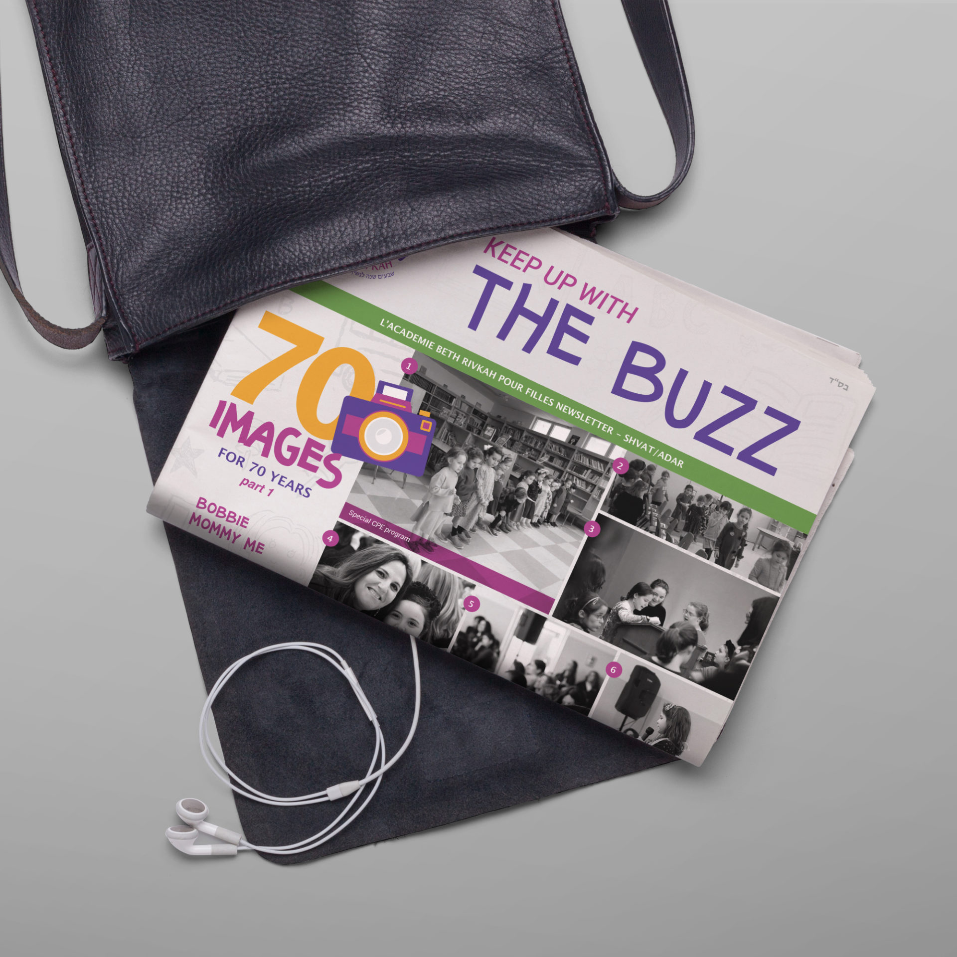 Beth Rivkah Academy's 'The Buzz' Newsletter in school bag.