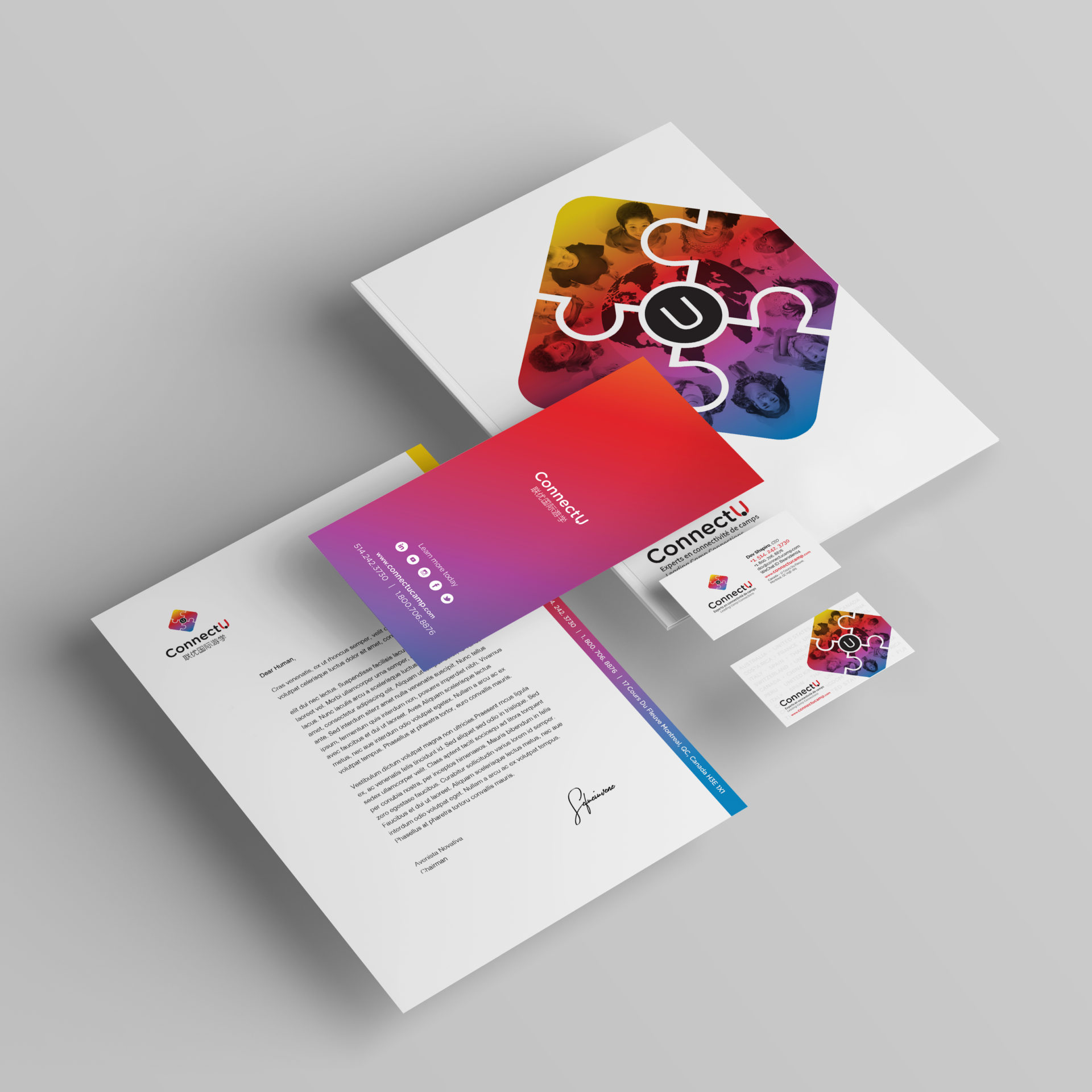 Stationery design with vibrant colors gradient - blue, red, purple, yellow - children of multicultural backgrounds around a globe.