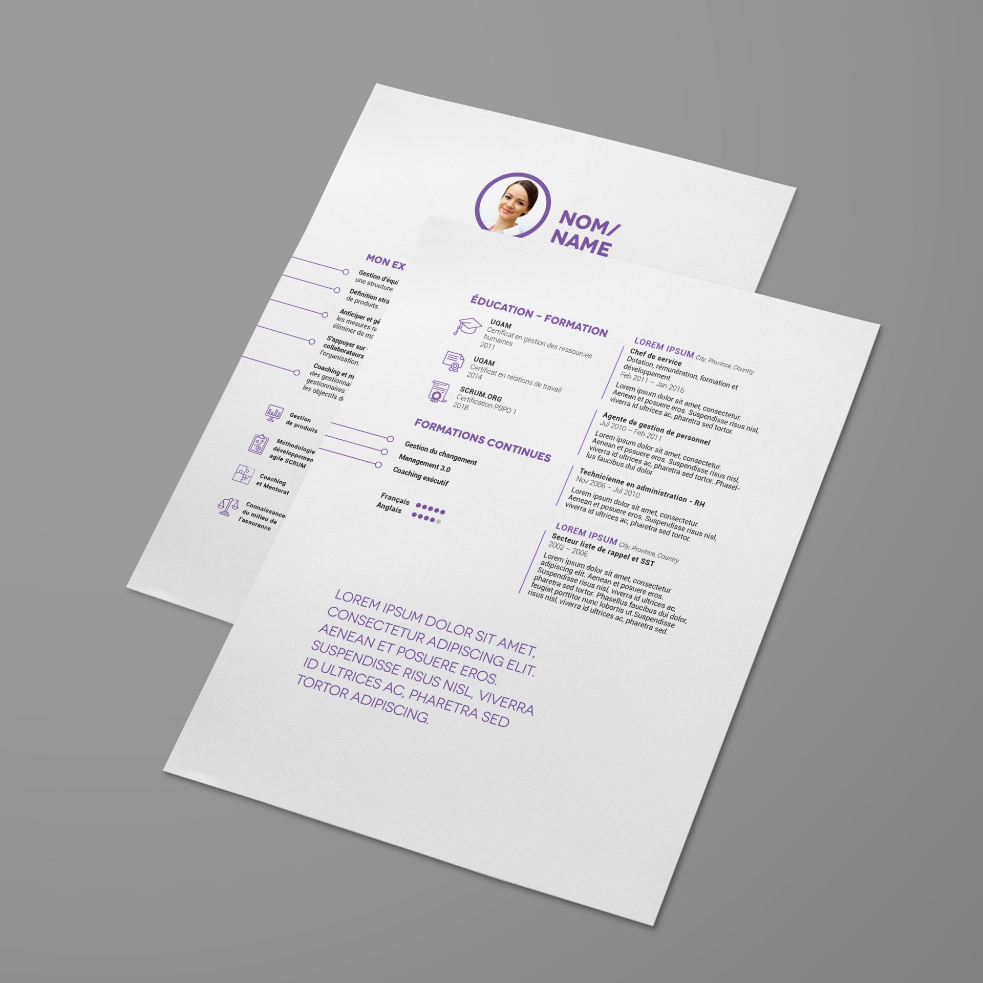 front and back of CV on white background with purple and black text.
