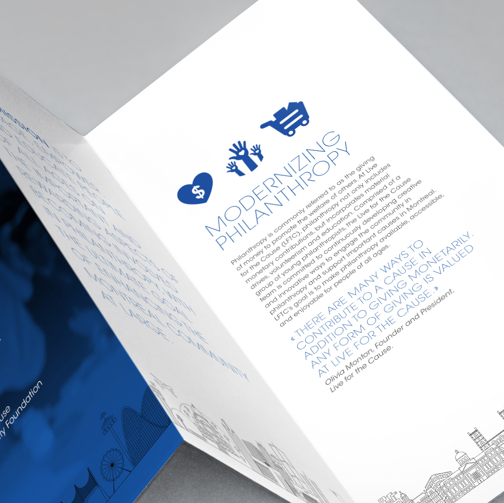 "Z-Fold brochure for Live for the Cause with text ""Modernizing Philanthropy"" and three blue icons, heart, hands, shopping cart."
