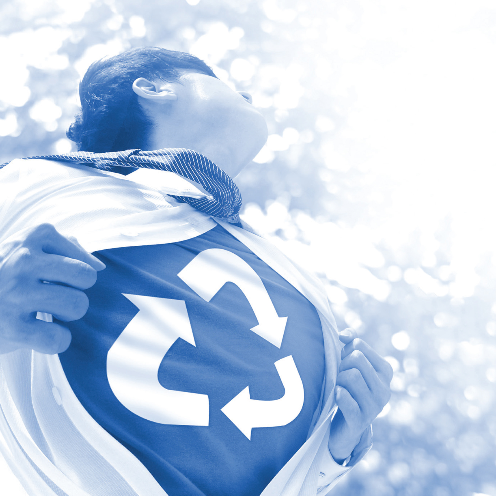 Man opening his shirt like superman but with a recycling symbol on his t-shirt. Image overlaid in blue.