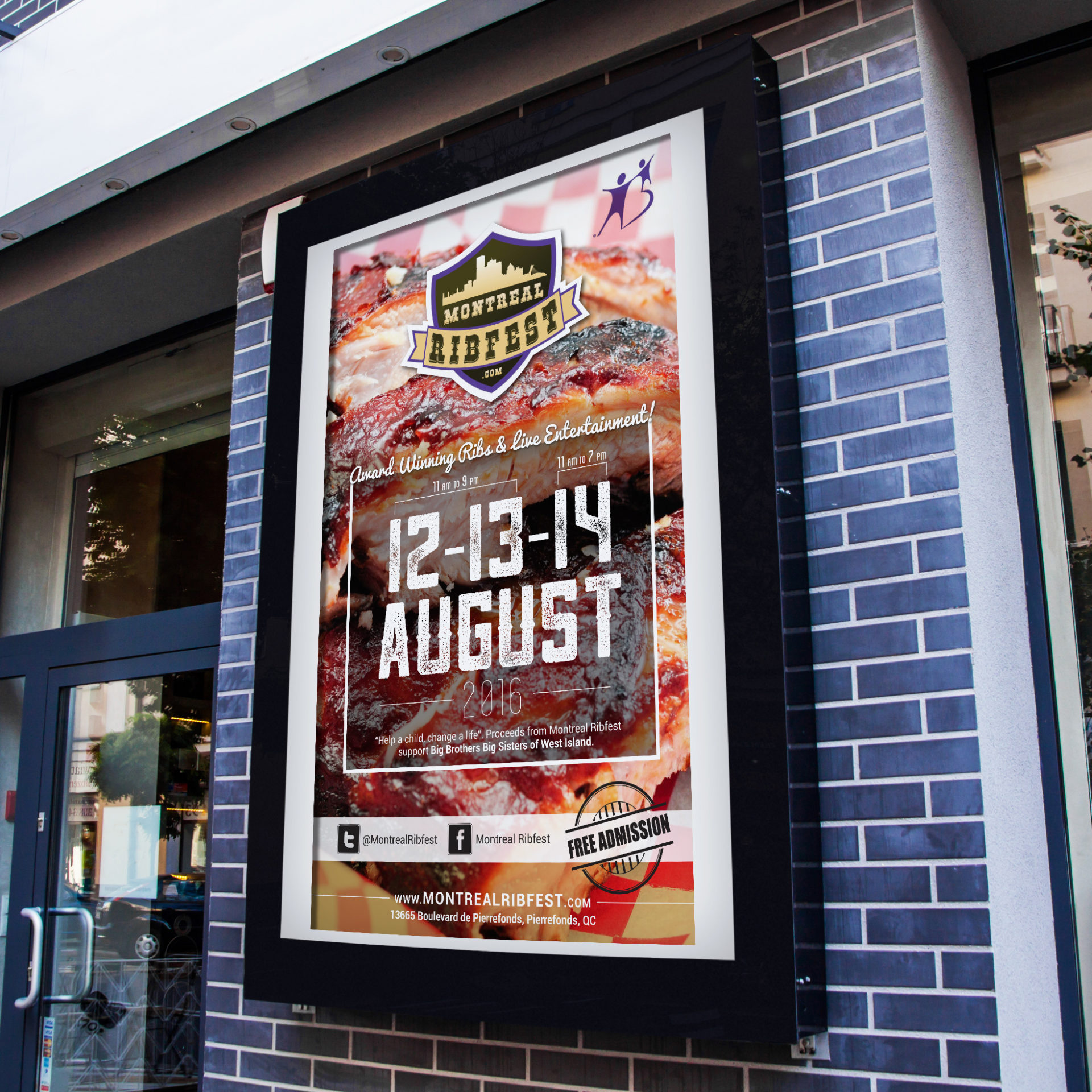 Montreal's West Island Ribfest 2016 advertisement on the outside of building with grey bricks.
